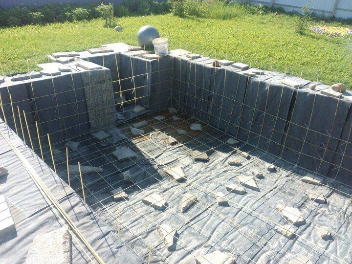бетонный бассейн армирование стен и защитный слой бетона