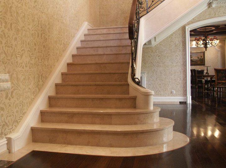 отделка бетонной лестницы камнем