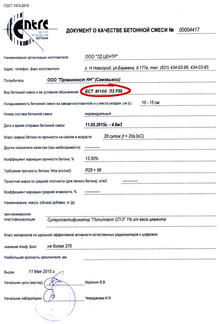 Документ качества бетонной смеси гост 7473 2010 водяной бетон