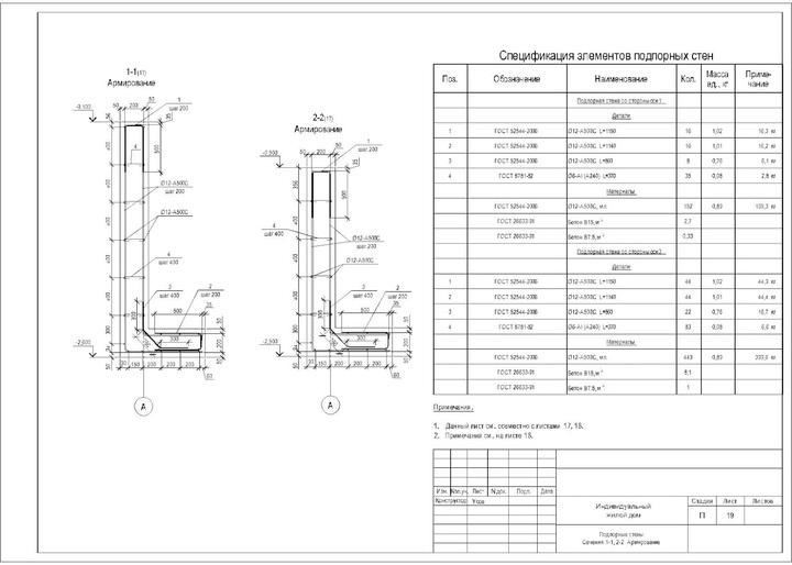 чертеж схемы армирования подпорной стены из бетона