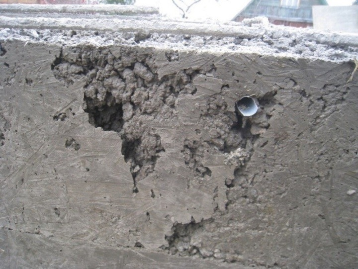 непровибрированная бетонная поверхность