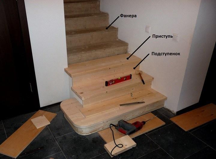 облицовка бетонной лестницы деревом этапы производства работ