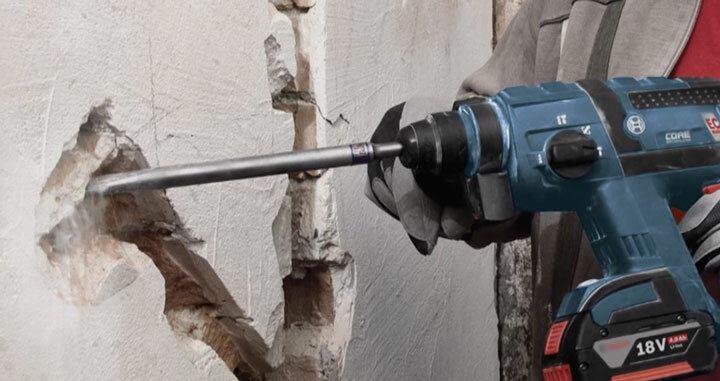 перфоратор с насадкой для штробления бетонных стен