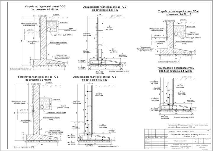 подробный проект подпорной стены из бетона с армированием и дренажом